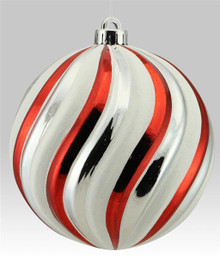 Swirl Ball Ornament - 150mm - Red/White/Silver
