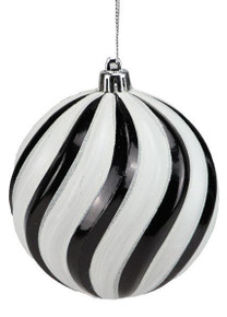 Swirl Ball Ornament - 100mm - Shiny Black/Shiny White