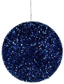 Glitter Ball Ornament - 100mm - Royal Blue