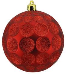 Dot Ball Ornament - 100mm - Red