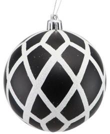 Harlequin Ball Ornament - 100mm - Black/White