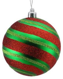 Diagonal Stripe Ball Ornament - 100mm - Emerald/Red/Lime