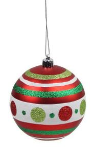 Polka Dot/Stripe Ball Ornament - 100mm - Emerald/Red/Lime