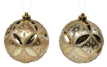 Floral Daisy Ball Ornament - 130mm - Set 2 - Champagne/Gold
