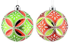 Floral Daisy Ball Ornament - 130mm - Set 2 - Red/Lime/White