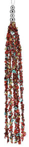 """Sequin/Bead Tassel Ornament - 11"""" - Red/Blue/Gold/Silver"""
