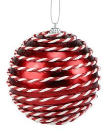 "Shiny Ball Ornament - 4"" - Red/White"