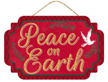 "Sign - Peace on Earth Glitter - 13"" x 8"""