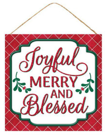 "Sign - Joyful, Merry & Blessed - 10"" Square"