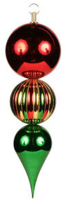 """Finial Ornament - 14.5"""" - Red/Emerald/Gold"""