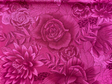 100% Cotton - Boundless - Fuchsia/Burgundy Roses