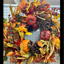 Harvest - Pumpkin & Pinecone Wreath