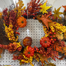 Harvest - Pumpkin & Yellow Berries Wreath