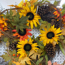 Harvest - Sunflower & Pinecones Wreath