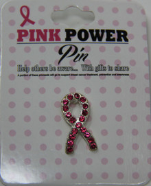 Breast Cancer Awareness - Rhinestone Ribbon Pin