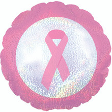 "Breast Cancer Awareness - 18"" Foil - Pink Ribbon Balloon"