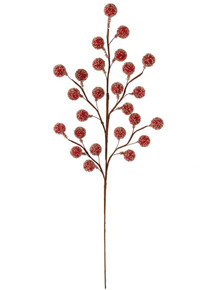 """20"""" Large Beaded Berry Spray - Red"""