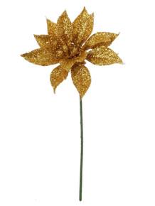 """4"""" Glitter Poinsettia Pick - Gold"""