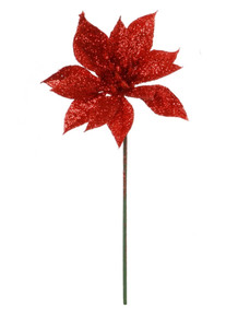 "4"" Glitter Poinsettia Pick - Red"