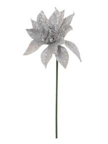 """4"""" Glitter Poinsettia Pick - Silver"""