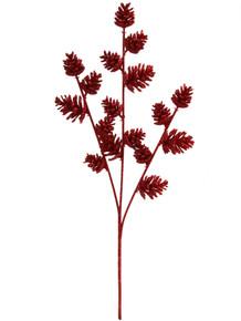 "18"" Glitter Pine Cone Spray - Red"