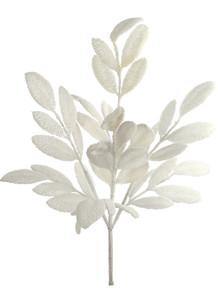 """20"""" Glitter Magnolia Leaf - White Iridescent"""
