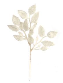 "12"" Glitter Salal Leaf - White Iridescent"