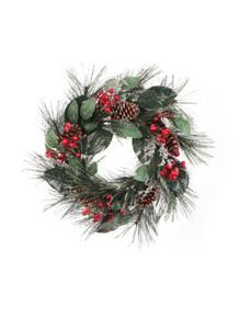 "Wreath - 24"" Pine, Berry & Cone"