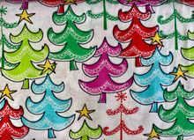 100% Cotton - Colourful Christmas Trees