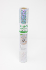 "Adhesive Vinyl 12"" x 48"" - Holographic Dots Silver"