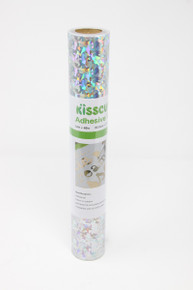 """Adhesive Vinyl 12"""" x 48"""" - Holographic Glass Silver"""