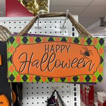 Sign - Happy Halloween - Orange & Green Harlequin