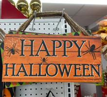 Sign - Happy Halloween - Orange with Spiders