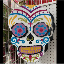 Wall Hanging - Dia De Los Muertos Skull - White