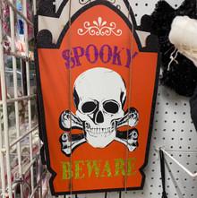 Yard Stake - Spooky Beware - Skull on Orange