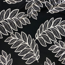Stretch Knit - Black & White Large Leaves
