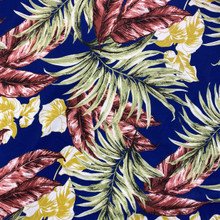 Scuba - Green & Brown Tropical Leaves on Navy
