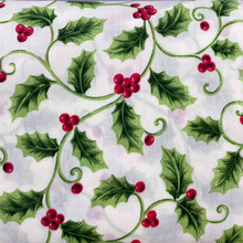 Christmas - PolyCotton - Holly All Over Ivory Background