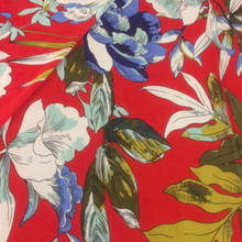 Stretch Knit - Tropical Floral on Red Background