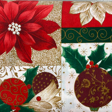 Christmas - PolyCotton - Poinsettia & Ornament Blocks