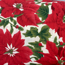 Christmas - PolyCotton - Large Poinsettias Ivory Background