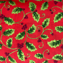 Christmas - PolyCotton - Holly All Over Red Background