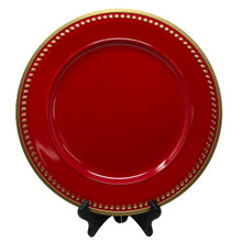 Charger - Glossy Red with Gold Beaded Edge