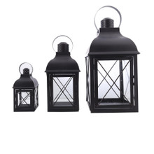 Lantern - Set/3 Distressed Black Metal