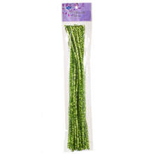 "12"" Chenille Stems - 25pcs - Tinsel Lime Green"