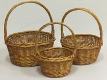 Willow Baskets - Round - Honey