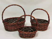 Willow Baskets - Woven Oval - Stained
