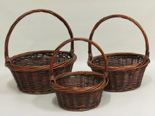 Willow Baskets - Round Heavy Rim - Stained