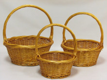 Willow Baskets - Round Heavy Rim - Honey