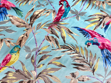 Uph/Drapery - Parrots - Lt Blue Ground